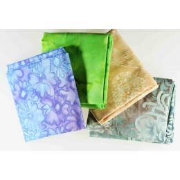 Lot de 4 coupons tissus patchwork batik