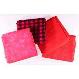 Lot de 4 coupons tissus patchwork rouge