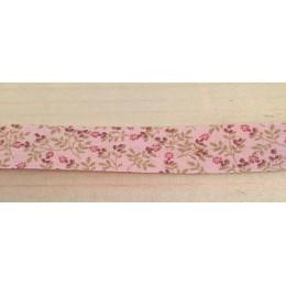 Biais fantaisie fleurs rose