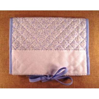 Protège carnet de santé fleuri bleu