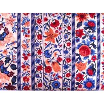 Tissu Fleurs en bandes bleu