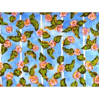 Tissu Roses fond bleu