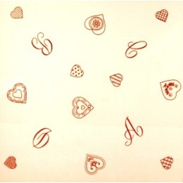 Nappe Coeur et lettres rouges