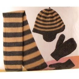 Bonnet+Echarpe+Mouffles à rayures